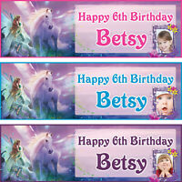 2 x personalized birthday banner party fairy unicorn boys girls any name ages