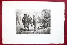 Eau-forte originale, Le laissez-passer aux avants-postes, Couturier,Cadart, XIXe