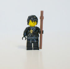 LEGO Black Ninja Cole original suit with hair & brown Staff Ninjago Spinjitzu