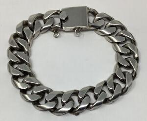 Vintage FarFan Mexico Taxco Signed Sterling Silver Cuban Link Bracelet (53.5 g.)