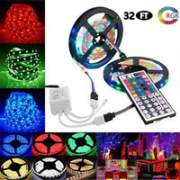 10M 3528 SMD RGB Flexible LED Light Strip 600LEDs Kit + 44 Key Remote Controller