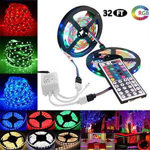 10M 3528 SMD RGB Flexible LED Light Strip 600LEDs Kit + 44 Key Remote Controller