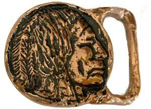 Vtg Native American Handmade Belt Buckle Chief Solid Bronze Portrait Coin Bison