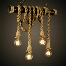 1m E27 Industrial Rope Pendant Lamp Vintage Edison Hemp Rope Ceiling Light Base