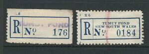Registration Labels Australia NSW Tumut Pond 2 diff. PO opened 1950 closed 1958