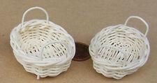 1:12 Scale 2 Handmade Wicker Baskets 5cm x 4cm Tumdee Dolls House Kitchen Shop O