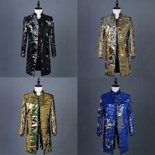 Mens Reversible Two Tone Sequin Longline Jacket Suit Blazer Cabaret Carnival