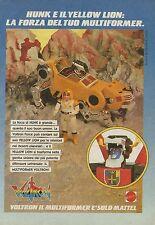 X2162 Multiformer Voltron - Hunk - Yellow Lion - Pubblicità 1986 - Advertising