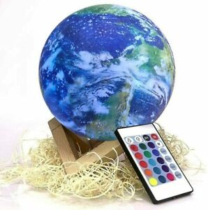 3D Printed Earth Lamp 15cm/5.90in Color Changing Touch & Remote Control