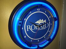 Robalo Fishing Boat Garage Man Cave Blue Neon Clock Sign