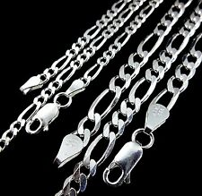 3Mm or 5Mm Solid 925 Sterling Silver Men's Figaro Chain Necklace Made In Italy