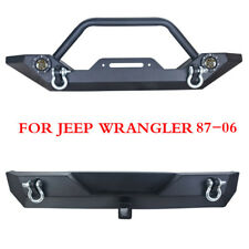 87-06 Jeep TJ YJ Wrangler Textured Front Rear Bumper Winch Plate W/LED Lights wa