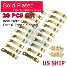 Gold 20Pcs Diy Sawtooth Picture Frame Hanging Hangers Double Hole with 40 Screws