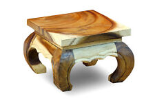 Opium Table 11 13/16in Side Solid Wood Flowers Wooden Square