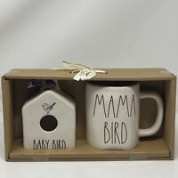 "Rae Dunn CERAMIC Mini "" BABY BIRD "" Birdhouse & "" MAMA BIRD "" MUG SET NEW NIB"