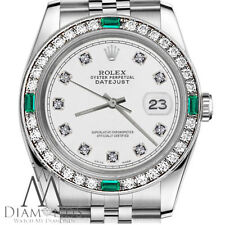 Ladies Rolex 26mm Datejust White Color Dial with Emerald Diamond Accent Watch