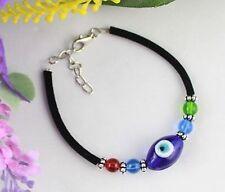 6PCS Blue Evil Eye Glass Oval Velvet Bracelets #21722