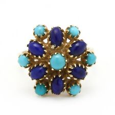 Vintage 14K Yellow Gold Lapis & Turquoise Cluster Ring