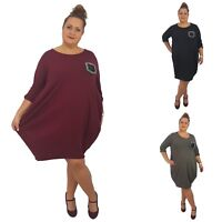 Wolfairy Womens Plus Size Dress Shift Spring Lagenlook Summer Baggy Long Sleeve