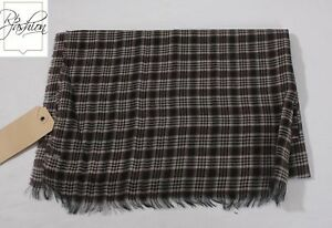 NWT Authentic Tom Ford Scarf 100% Wool Black Gray Red Plaid #Tf11249
