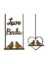 4x Love Birds Heart Swing 7.5cm Wood Craft Embelishments Laser Cut Shape MDF