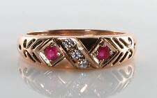 LUSH 9CT 9K ROSE GOLD INDIAN RUBY & DIAMOND GYPSY BAND ART DECO INS RING