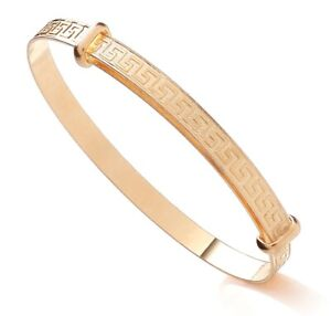 9ct Gold on Silver Expanding Baby Bangle - GREEK KEY PATTERN - NEW - Gift Boxed