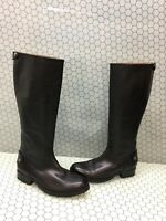 FRYE 'Melissa Button' Black Leather Back Zip Knee High Boots Women's Size 7 B