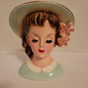 Vintage 1960 Napco Lady Head Vase Planter Headvase C4554C 6.5 In. Mint Green