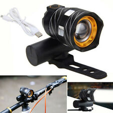 USB Rechargeable XM-L T6 LED Bicycle Bike Light Front Cycling Light Head Lamp BK