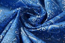 Pacific Blue Bandana Print Quilting Fabric Craft Apparel Upholstery 45