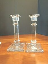 Pair of Antique pressed glass tall candle sticks