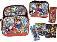 "Mario 16"" Backpack +  Lunch Bag + 2 Pocket Folders + 6 Pack of Pencils"
