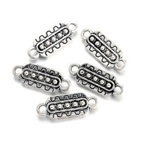 100 Tibetan Alloy Carved Charm Connectors 1/1 Loop Rectangle Links Silver 21.5mm