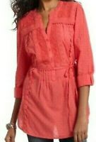 Anthropologie Leifnotes Women's Coral Bohamian Festival Lace Tunic Top Size 12
