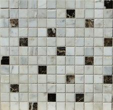 Marmormosaik Mosaikfliese weiß braun 30x30x0,8cm, AKTION