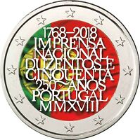 Portugal 2 Euro 2018 Nationale Druckerei Münze in Farbe