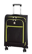 Koffer Trolley Reisekoffer Stoff sw-grün LEICHT 2,2 kg 46 Liter 65 x 40 x 22 cm