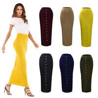 Muslim Women Slim Long Pencil Skirt High Waist Stretch Bodycon Maxi Button Dress