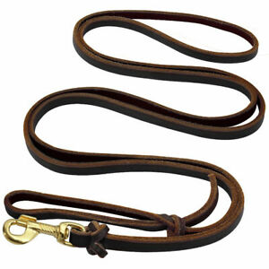 Brown Braided Genuine Leather Dog Leash Pet Training Leads Heavy Duty 5.5ft New