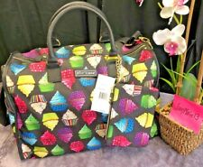 NEW!  Betsey Johnson Kitsch Cupcake Weekender Travel Duffle Bag & Wristlet SET