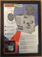 Original vintage années 1950 rétro encadrée A4 notice-eumig P8 zoom 8mm projecteur