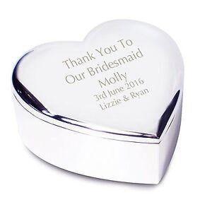 Personalised Engraved Bridesmaid Heart Trinket - Wedding, Thank You, Best Friend