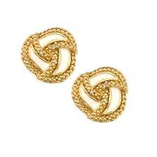 18K Gold over 925 Silver .05 CTW Genuine Diamond & White Enamel Knot Earrings