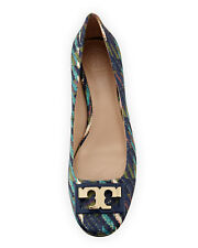 Tory Burch ' Gigi ' Gold Logo Low Heel PUMPS Print Satin Shoes 5