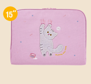 "Cute Cat Laptop Notebook Sleeve Case Bag Pouch 15"" Mac Book LG Samsung"