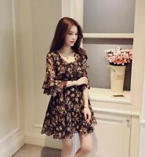 Women Chiffon Floral A Line V Neck Flare Sleeve High Waist Shift Maxi Mini Dress