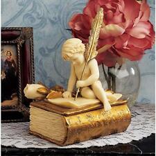 Nostalgic Victorian Cherub Writing Letter of Love Sculptural Trinket Book Box