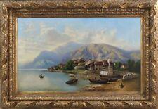 Dipinto antico del XIX secolo - Olio su tela - VEDUTA DI OMEGNA