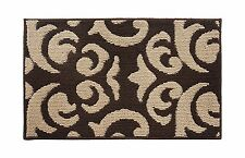 "Soft and Durable Microfiber Bathroom Shower Accent Rug, 30"" x 18"" Brown & Tan"